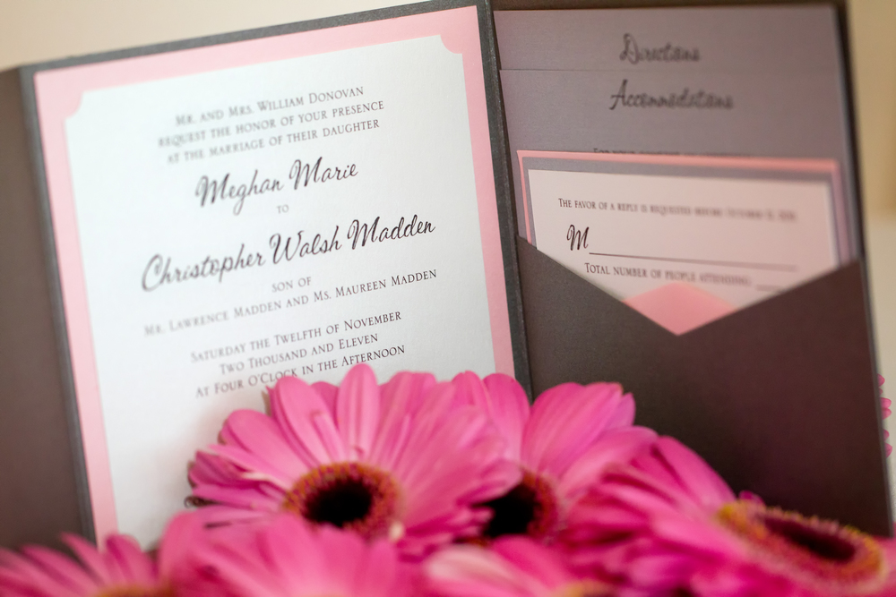 This Pink and Steel Gray Envelopments Pocket Invitation featured hand-punched notches in the corner to nod to the old fashioned baseball tickets. To see more pics from this beautiful wedding, click  here.