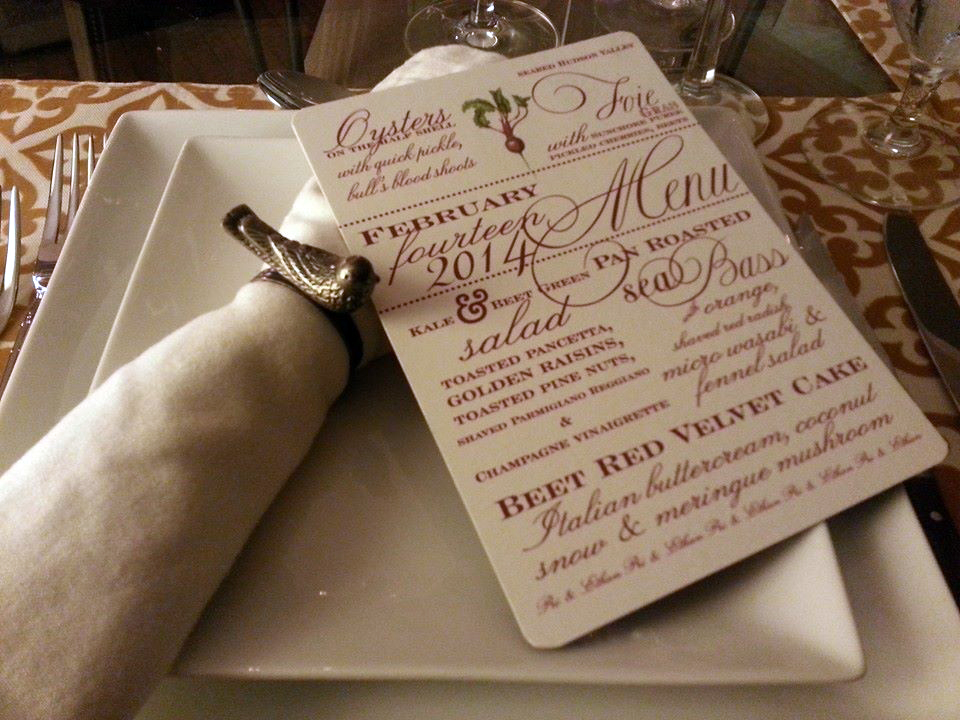 The finished menu card and place setting for a memorable Valentine's Day dinner!