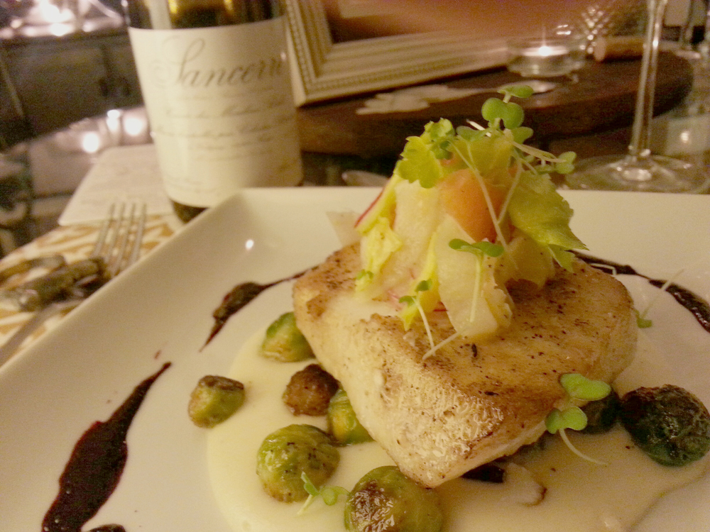 Pan Roasted Sea Bass with Orange, Shaved Red Radish, Micro Green Mustard & Fennel Salad, Potato Purée, Baby Brussels Sprouts, Beet Reduction