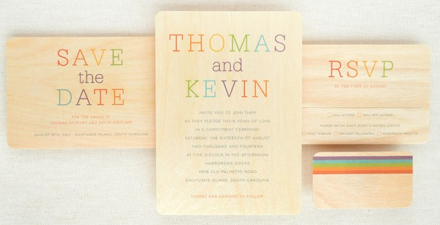 A beautiful rainbow inspired wedding stationery set.