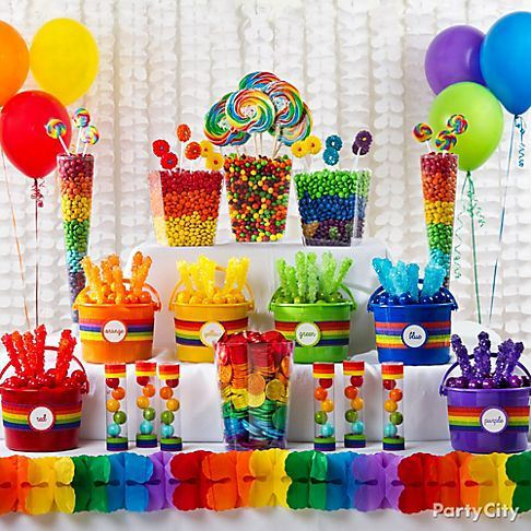 A rainbow hued candy bar is sure to have many fans!