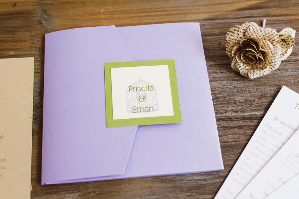Lavender, Sage and Soft Ivory Wedding Square Envelopments PocketFold Invitation