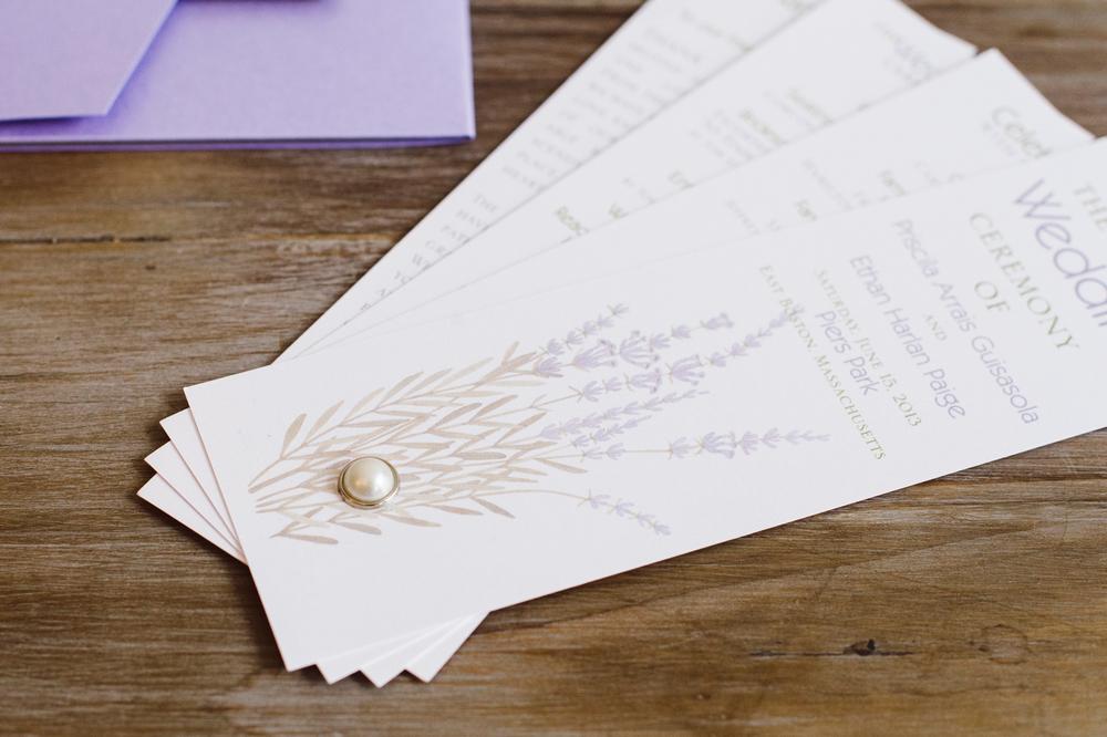 Pearl Tie Detail on Wedding Ceremony Program Fan