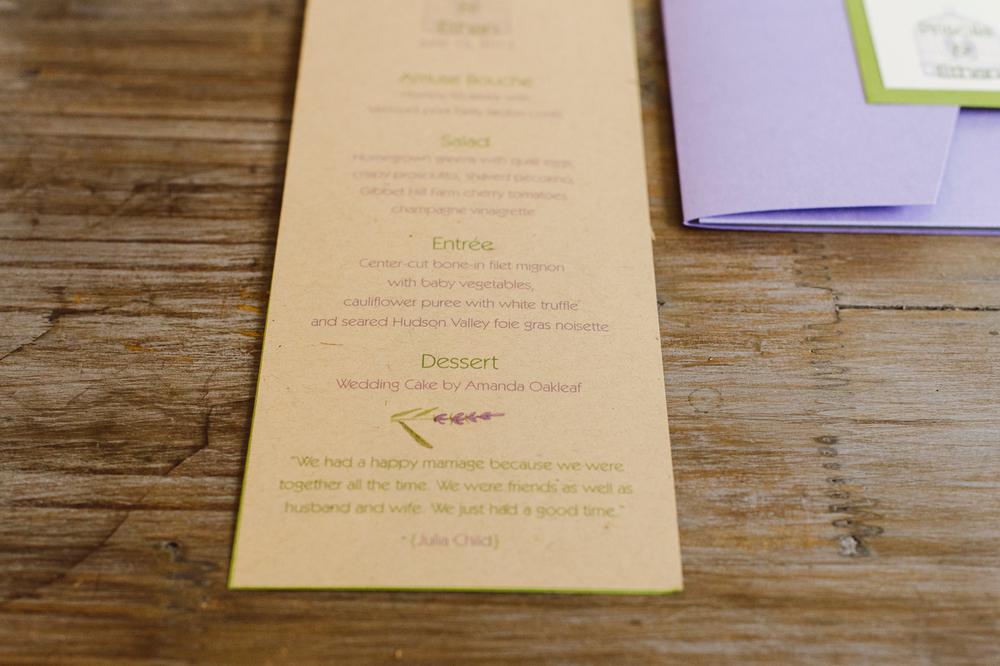 Kraft Menu Card with Sage Green Backing