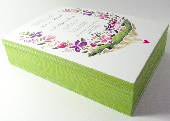 We love the apple green edging on these beautiful watercolor invitations!