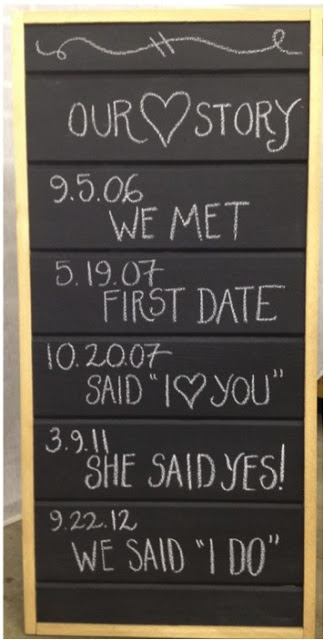 The timeline/love story board is so cute! We think it  would be great set up near a ceremony.