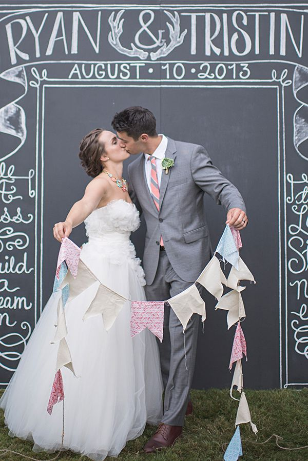 This is the cutest photo backdrop for a wedding!