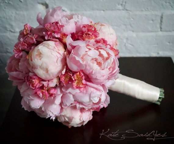 These silk bouquets are really beautiful and highlight peonies and cherry blossoms which are pretty delicate in natural form. This way you get to keep your bouquet forever!