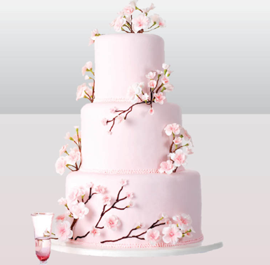 Square Cherry Blossom Wedding Cakes