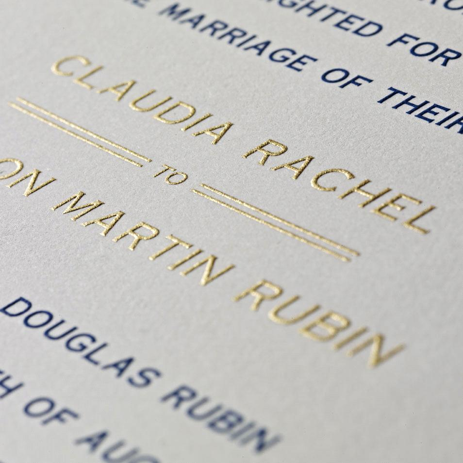 This is a great example of engraved printing. Notice how sharp the gold ink is. It almost looks like embroidery
