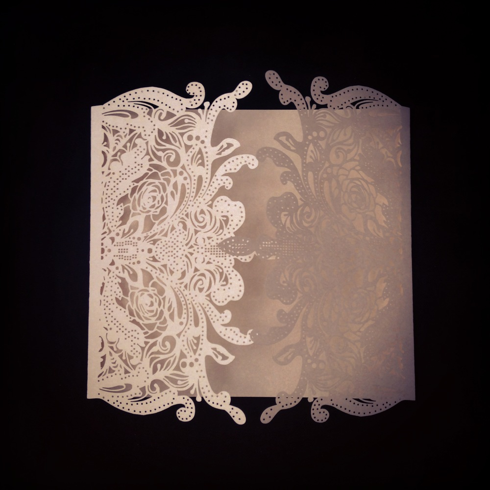 New! Cream Laser Cut Invitation Wrap