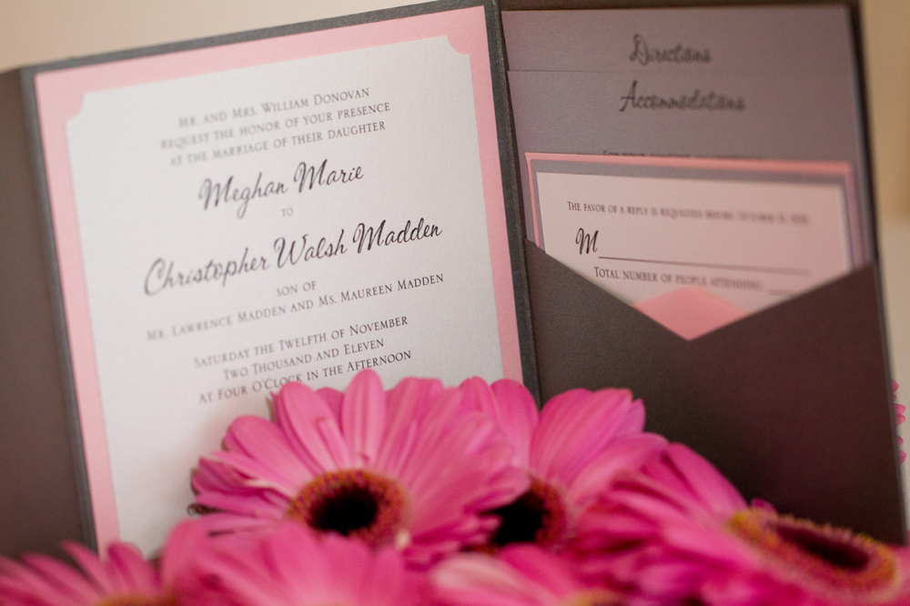 Their Envelopments Invites in Graphite, Pink and White with hand-notched corners (like a ticket)