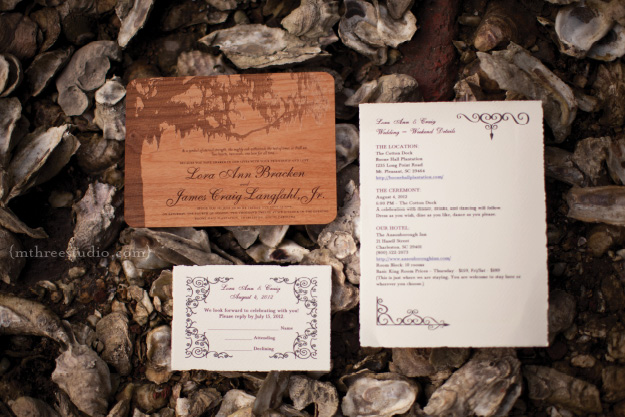 This wooden invitation really accenuates the plantation them and charm of the live oak tree.