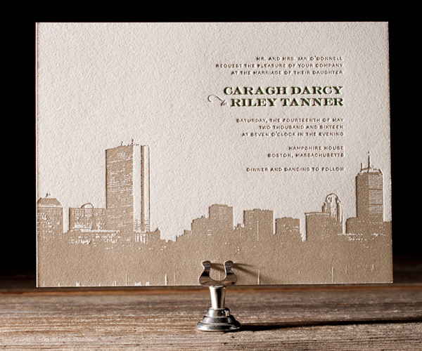 Bella Figura has lovely letterpress invitations and this Boston Skyline is no exception! LOVE!