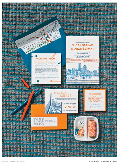 This Gus & Ruby Invite with the MBTA map as the envelope liner is so iconic and so Boston!