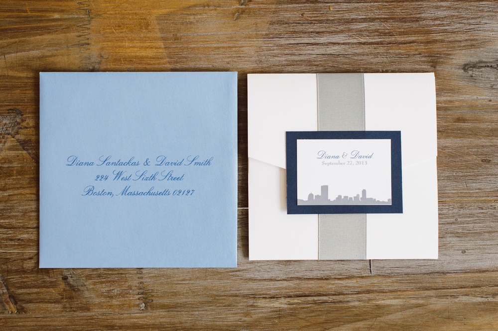 Our own Boston Skyline Invitation using Envelopments Signature Pocket and our signature ribbon wrap completes this sky blue, navy and white set.