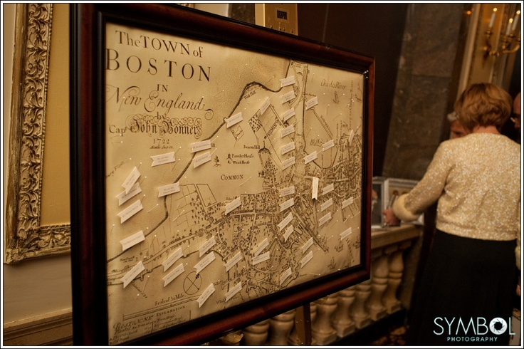 This escort card board using an old map of Boston makes a great statement!