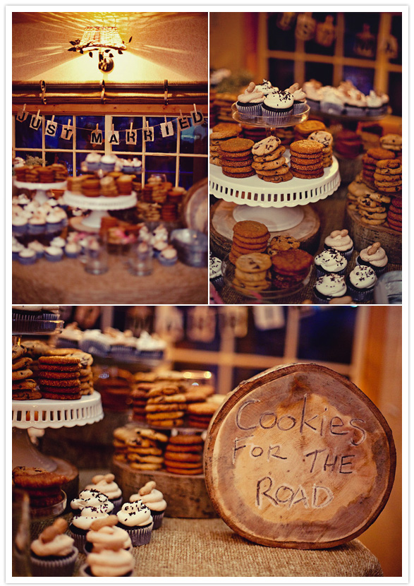 "Cookies that also double as a wedding favor? Yes please! This ""Cookies for the road"" display is so sweet and charming. We just need to add some milk!"