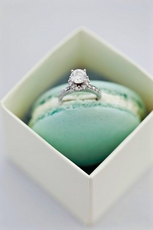 If you opened up this sweet little box and saw this amazing ring and a macaron, wouldn't YOU say yes???