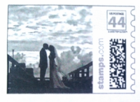 This custom stamp was designed to go with this couple's thank you cards.
