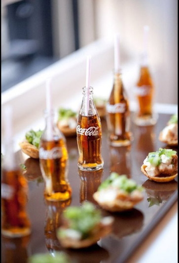 We are obsessed with these mini Coca-Cola Bottles and Fried Chicken Hors d'oeuvres!
