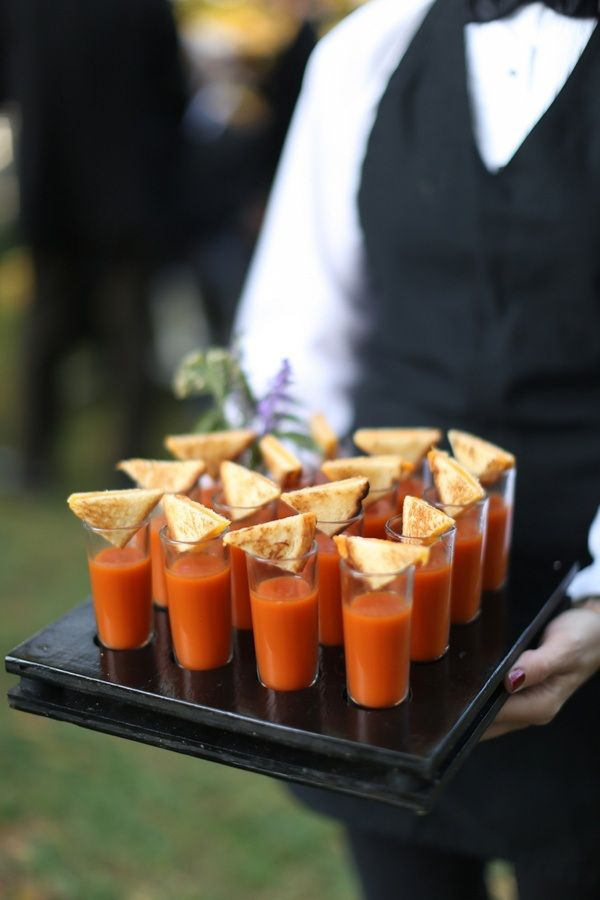 The ever classic Grilled Cheese Triangle with Tomato Soup Shooter - still a hit with your guests!