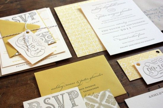 This gray and pale yellow letterpress wedding invitation suite makes us swoon with the detail! Love love love!