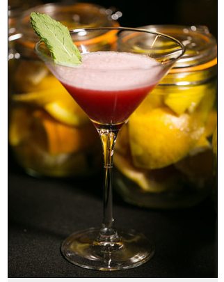 This drink called the Malacca Flip is a new gin drink created by Nicolas Oliviera uses  Tanqueray Malacca Gin. Using an egg white creates a nice texture the hibiscus syrup makes this drink a fabulous color.