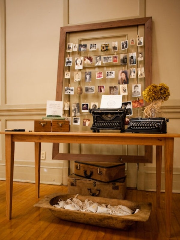 This Vintage Photo Display using an open wooden frame is so fun and practical! We love the vintage typewriters and card catalog drawers!