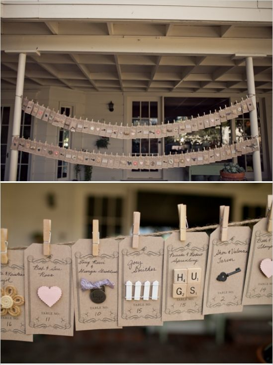 This clothesline of tags with personalized momentos really took our breath away!