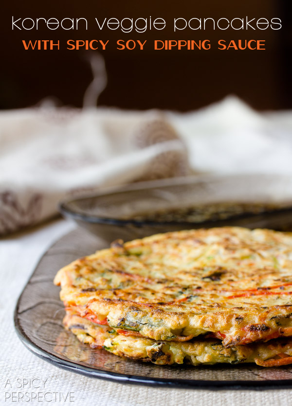 This Korean pancake was made in our house when Kimchee starting getting a little too sour. The traditional version is made with ground soybeans but this version uses flour which makes it more like a scallion pancake. Cut up in wedges, this makes a great cocktail hour nibble.