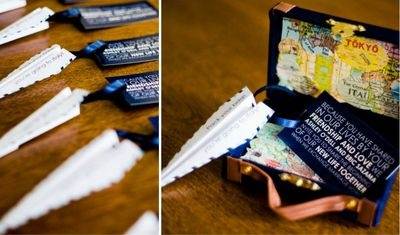 This mini suitcase/paper airplane invitation had to be love at first sight!! I love the map, attention to detail and just the overall cute scale!
