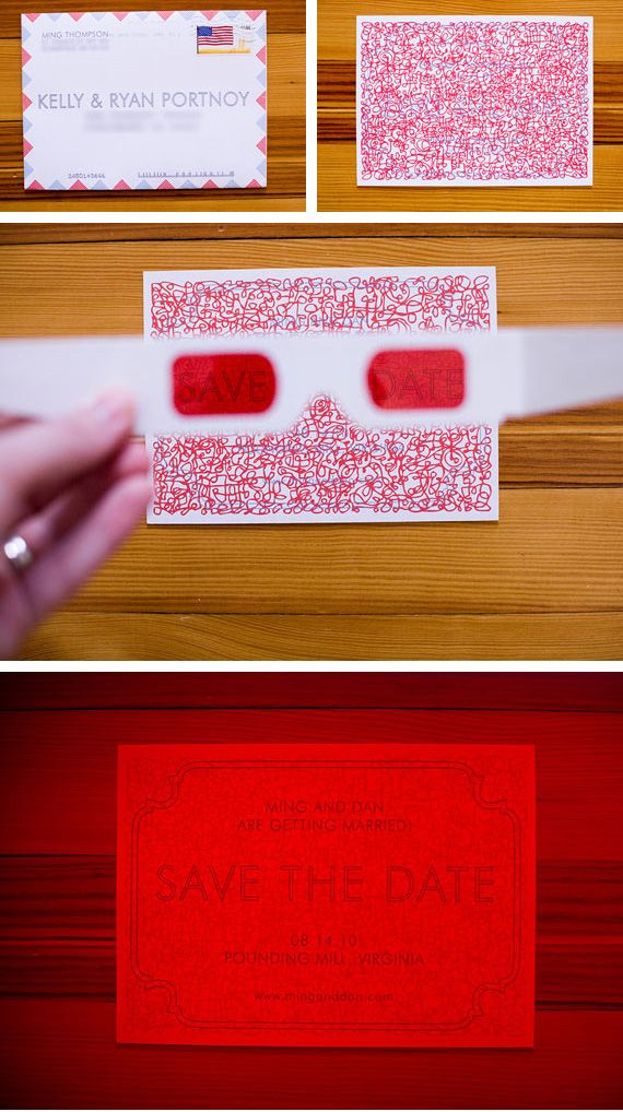 "We love this ""secret message"" invitation where you have to don the colored glasses to see the information! So clever!!"