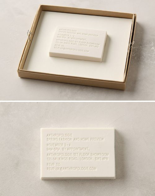 This eraser invitation takes clean and practical to another level. After the party is over you can re-purpose the invitation! Genius!
