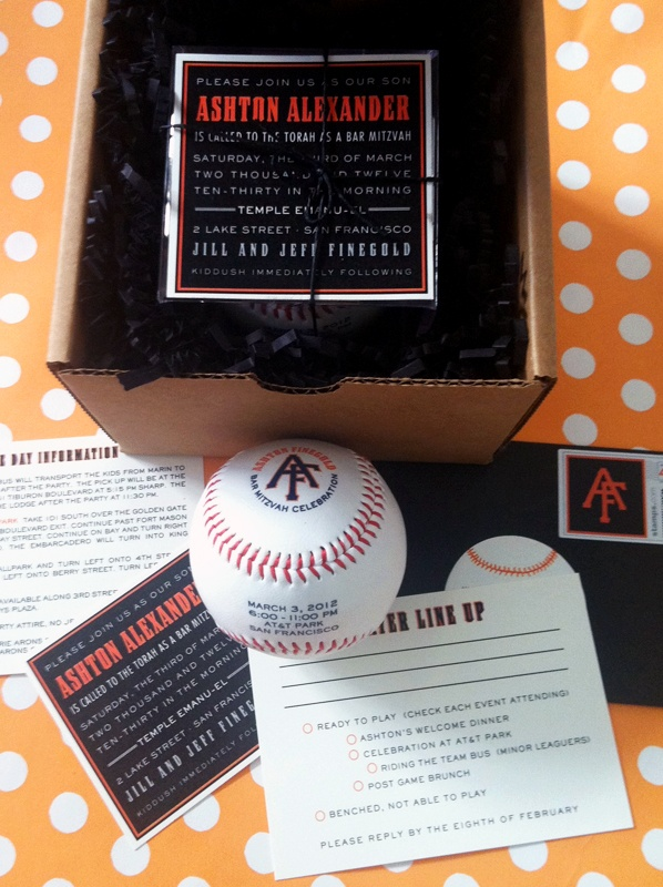 This baseball invitation is a home run in our book! I particularly love the response card - Ready to play or Benched. So clever!
