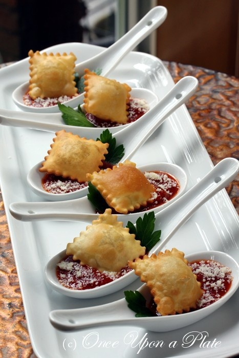These cute toasted ravioli spoons are the perfect little bite and we LOVE the presentation on the little spoon! No double dipping here!