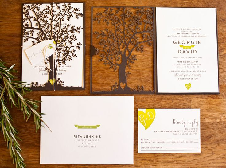 This Tree themed invitation suite would be so perfect for a wedding in the woods! We LOVE LOVE LOVE the heard detail on the trunk that carries over into the RSVP card and becomes a mini logo within the main