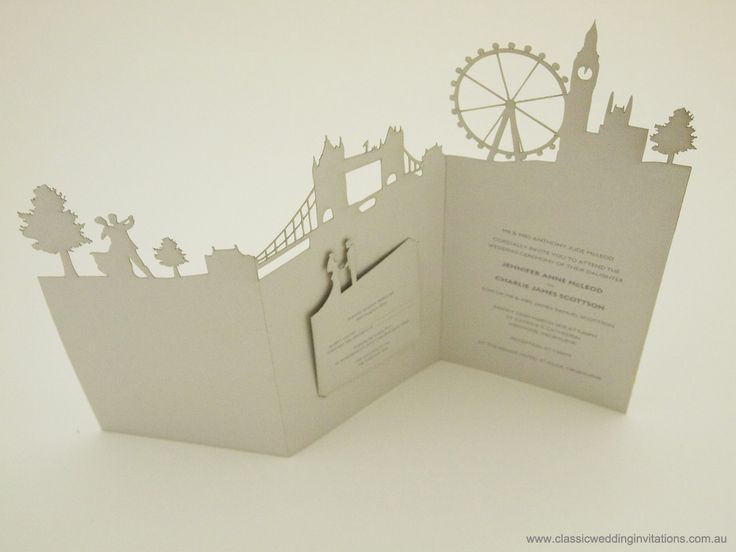 This London Skyline invitation is so whimsical and beautiful, I would be saying YES to going to this wedding!