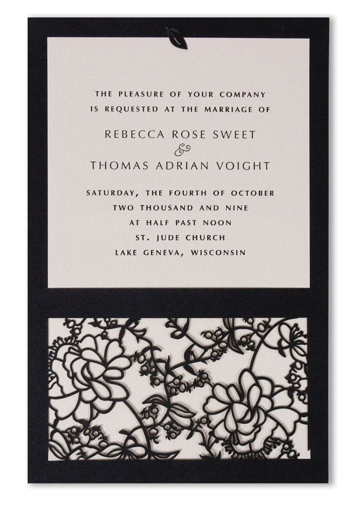 This stunning invitation combines the invitation on the top half and the intricate artwork on the bottom half. Lovely!!