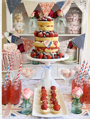 The Brits LOVE their sweets and I love all the varieties of sweets that they offer! This sweets table has a decidedly British theme from the color and the delicious looking wedding cake! We don't know if it is made of cake or scones but either way we'd be happy to take a slice!