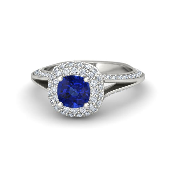 Elena Ring with Blue Sapphire  ,  Diamonds and White Gold