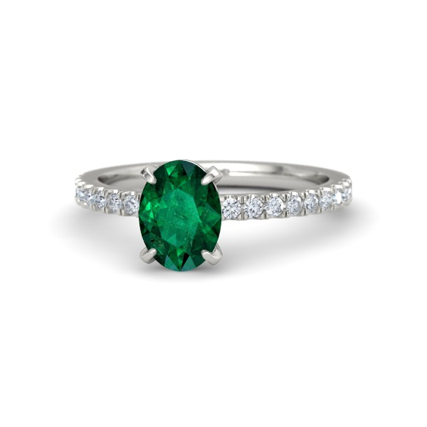 Colette Ring with an oval Emerald, diamonds and White Gold.