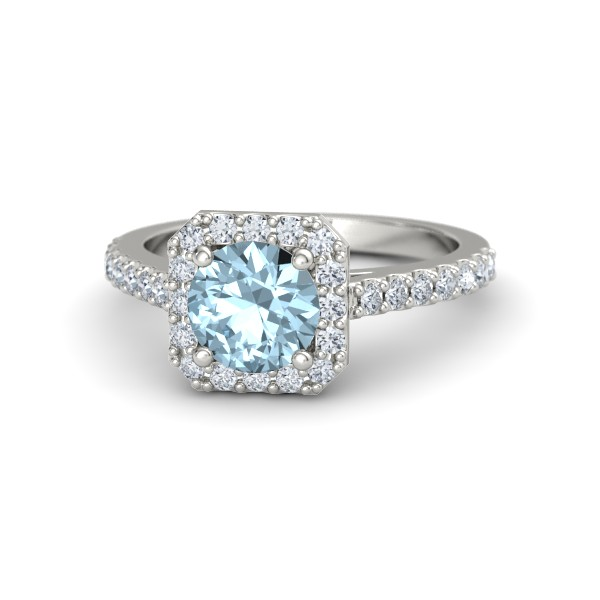 Adele Ring with Aquamarine, Diamonds and White Gold