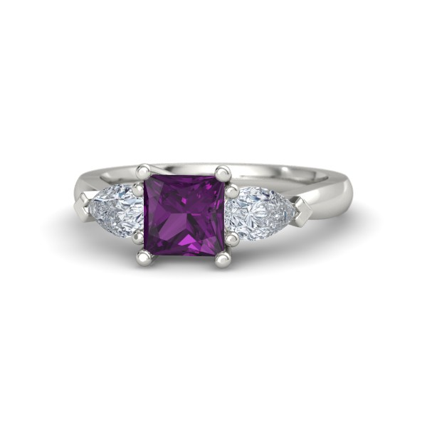 Trina Ring with Rhodolite Garnet, Diamonds and Platinum
