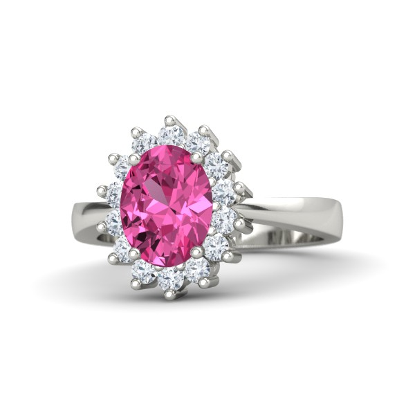 Diana Ring with Pink Sapphite, Diamonds and White Gold