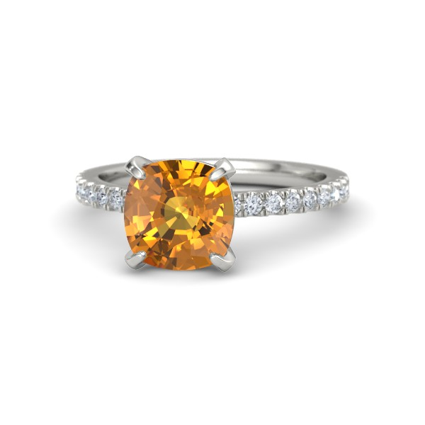 Cecilia Ring Cushion Cut Citrine with Diamonds and White Gold.