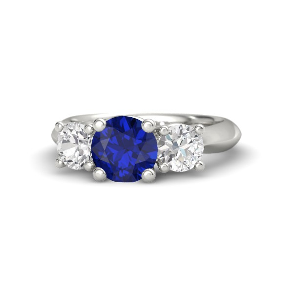 Rosemary Ring with Blue Sapphire, White Sapphires and White Gold