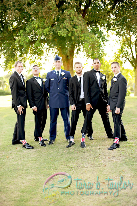 What a fun bunch of guys to don American flag socks and support the military clad groom!