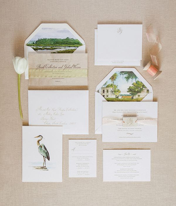 This invitation suite makes me feel like I could jump into the envelope and be transported to the wedding! The level of detail on the envelope liner is truly one of a kind!
