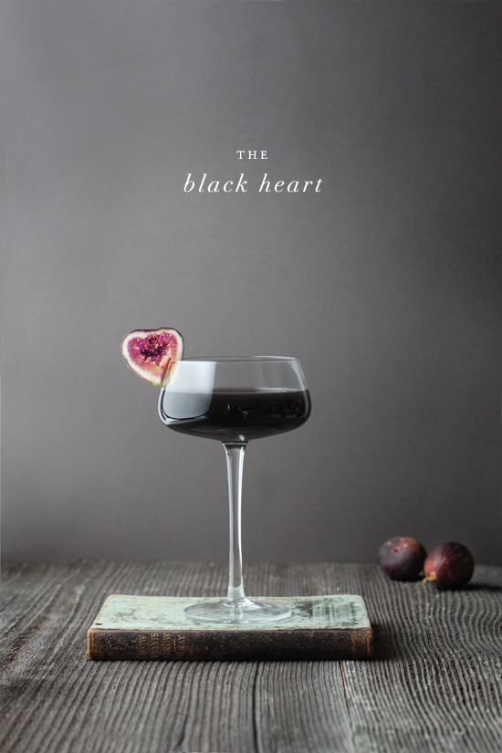 "THE BLACK HEART - Halloween is the only time of the year where all of a sudden figs are ""creepy"". Ok - they are unusual looking but in this cocktail they are a ""black heart"" - SO clever! And so mysterious...."